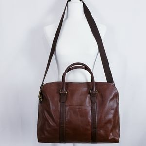 Fossil Mayfair Men's Top Zip Workbag Cognac
